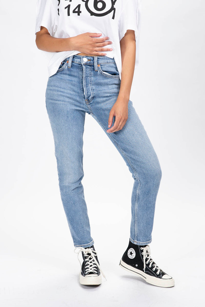 RE/DONE Women's High Rise Ankle Crop Jeans  - XHIBITION