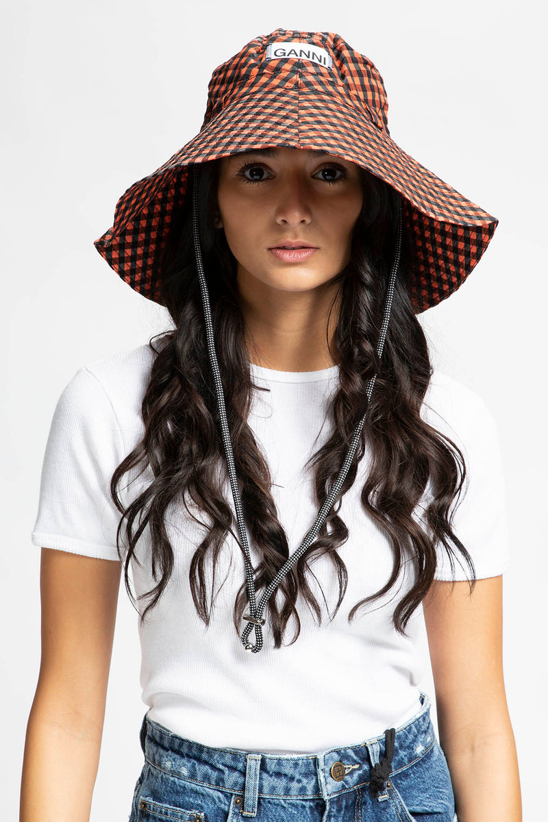 Ganni Women's Seersucker Check Hat  - XHIBITION