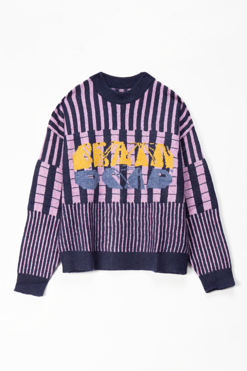 Brain Dead Varied Stripe Mock Neck Sweater  - XHIBITION