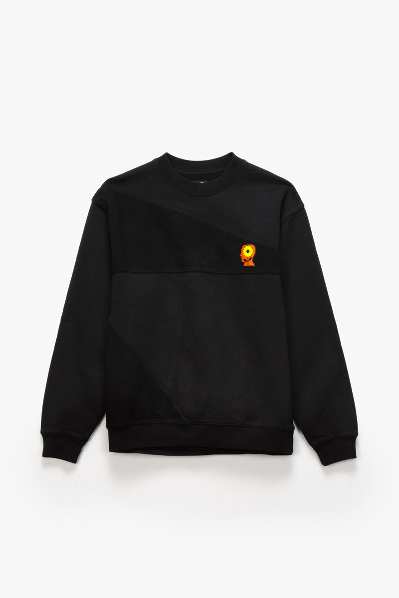 Brain Dead Sunflower Asymmetrical Paneled Crewneck  - XHIBITION