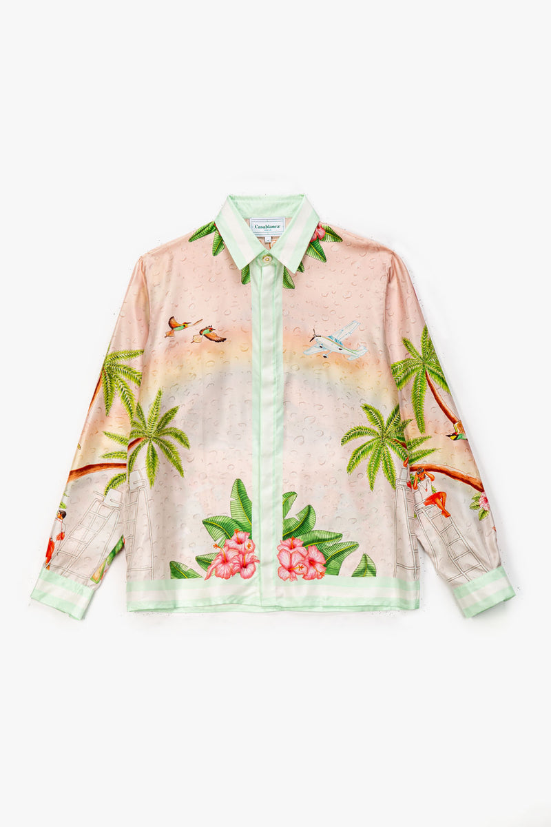 Casablanca Casablanca Surf Club Printed Long Sleeve Silk Shirt  - XHIBITION