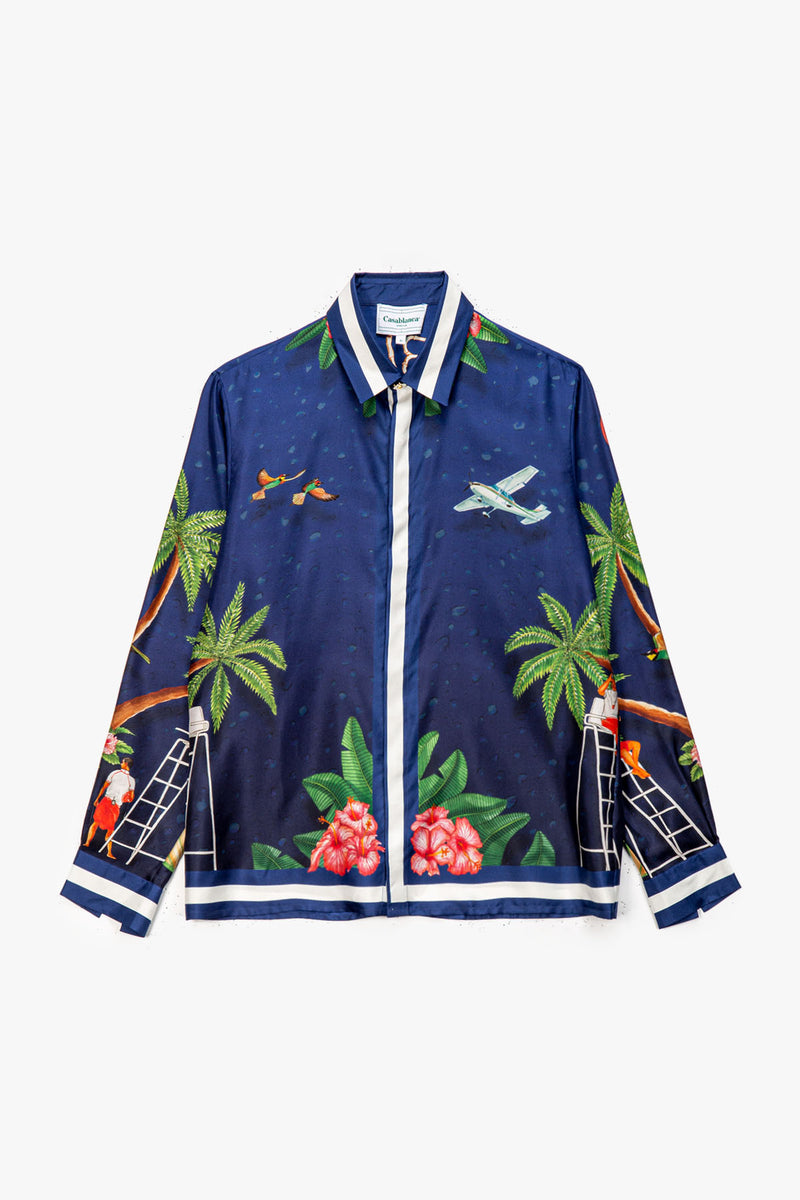 Casablanca Casablanca Surf Club Midnight Print Long Sleeve Silk Shirt  - XHIBITION