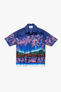 Casablanca Nuit A Maui Printed Short Sleeve Slik Shirt  - XHIBITION