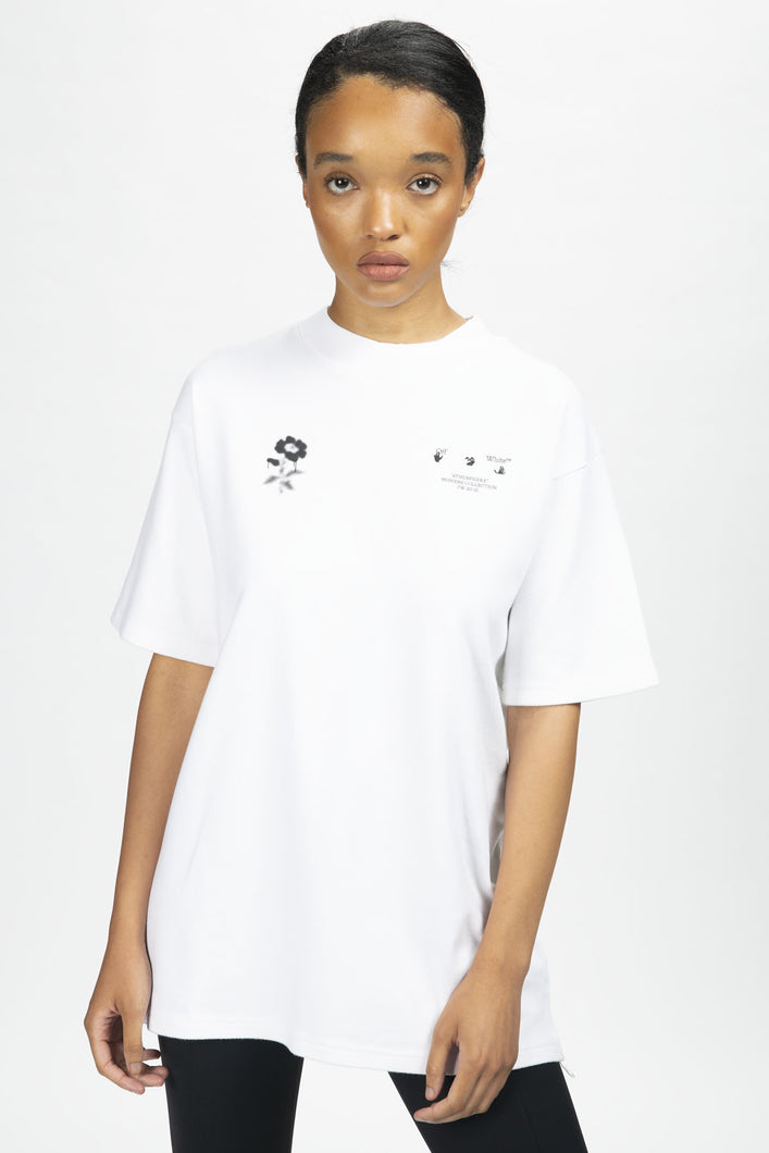 Off-White Women's Blurred Flower Tomboy T-Shirt  - XHIBITION