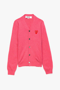 Comme des Garcons PLAY Double Heart V-Neck Cardigan  - XHIBITION