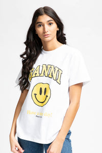 Ganni Women's Basic Cotton Smiley T-Shirt  - XHIBITION