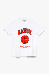 GANNI Women's Smiley Logo T-Shirt  - XHIBITION