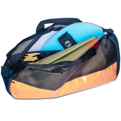 gear bag for bodysurfing open with swim fins