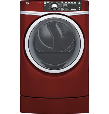 GE® 8.3 cu. ft. capacity RightHeight™ Design Front Load electric ENERGY STAR® dryer with steam GFD49ERPKRR