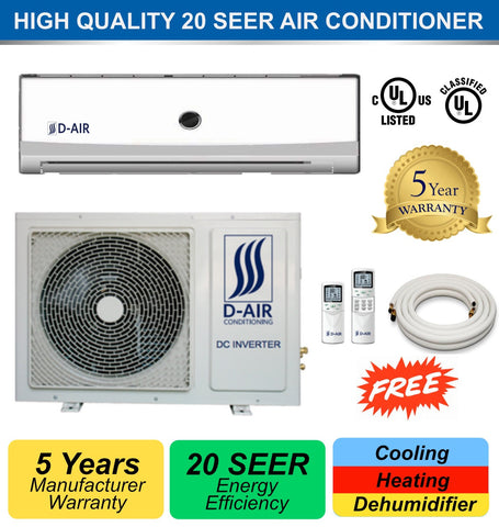 DUCTLESS MINI SPLIT A/C 12000 BTU 20 SEER DA-12HP110 (With Installation in Orange County, California) - d-airconditioning