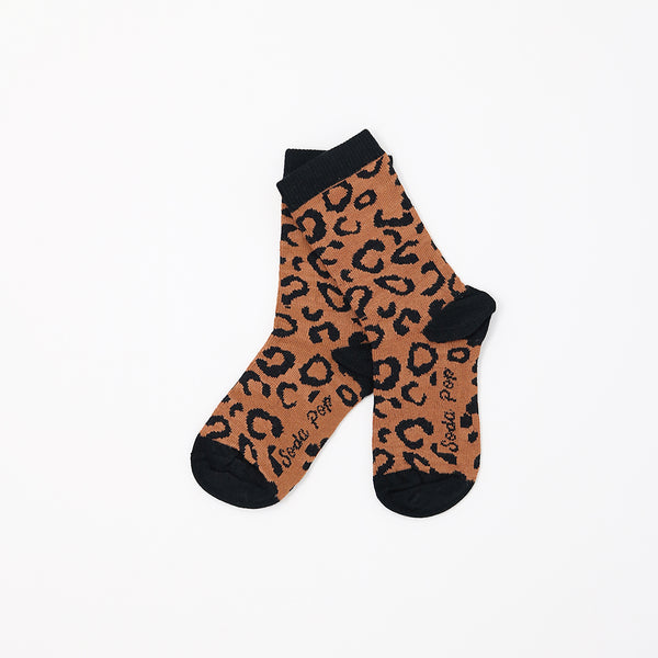 Brown Leopard Kids Socks