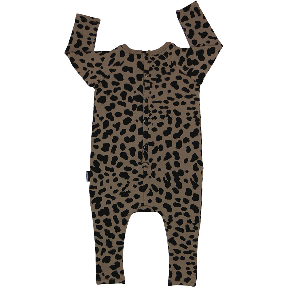 Brown Spots Long Sleeve Harem Romper