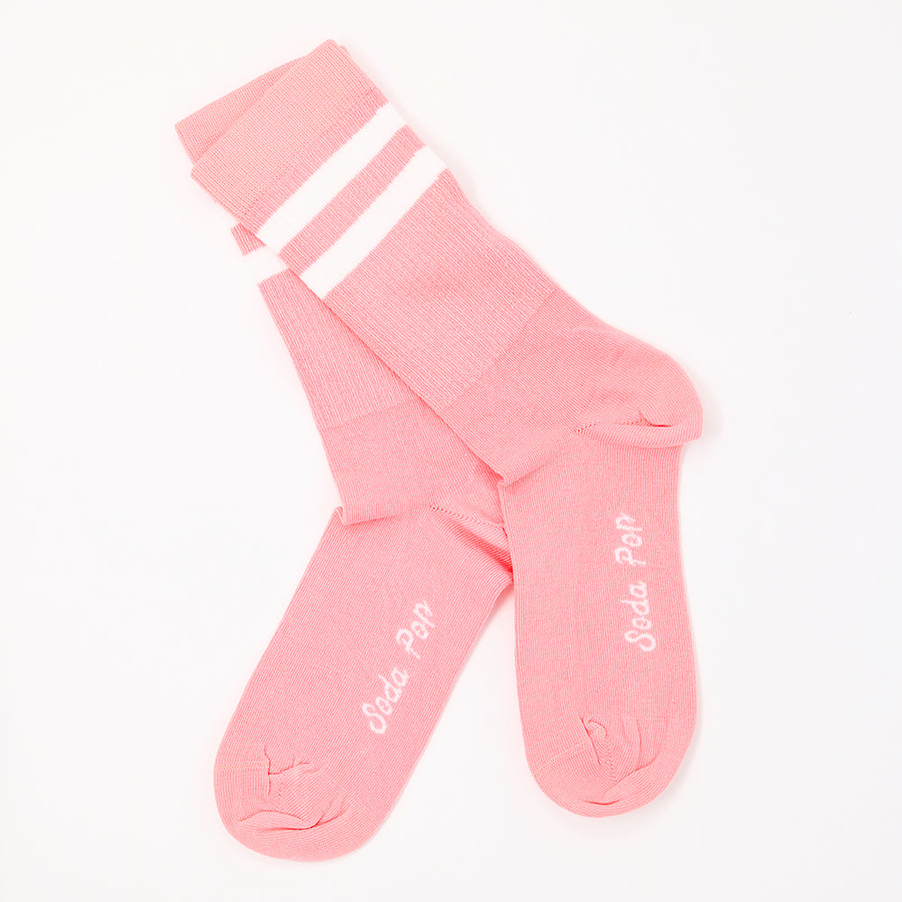 Coral Pink Vintage Sporty Women's Socks