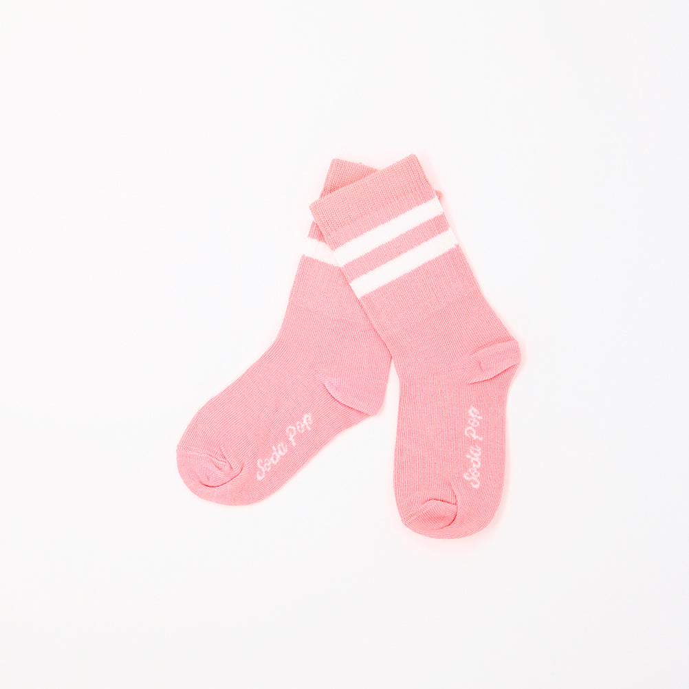 Coral Pink Vintage Sporty Kids Socks