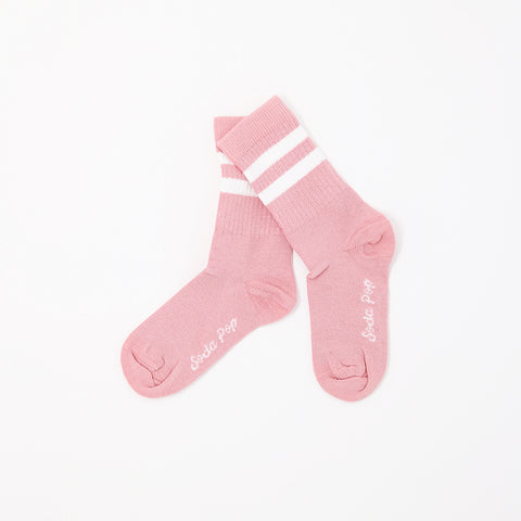 Dusty Pink Vintage Sporty Kids Socks