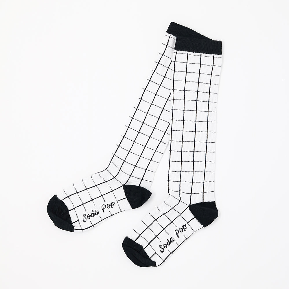 Mono Grid Kids Knee High Socks