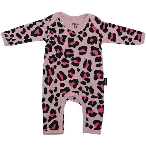Pink/Pink Leopard Baby Romper