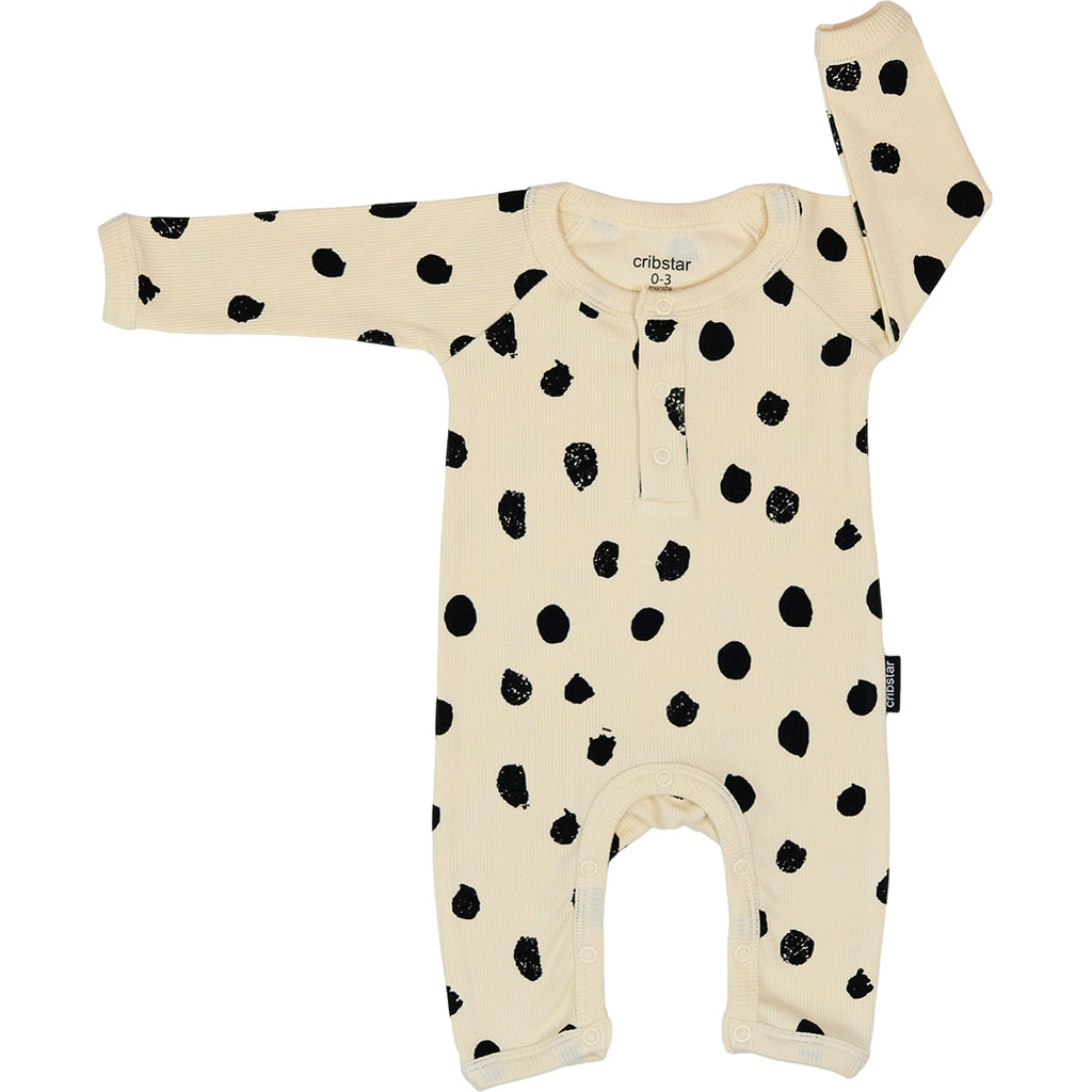 Ribbed Baby Romper - Cream Dots