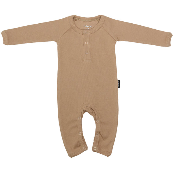 Ribbed Baby Romper - Toffee