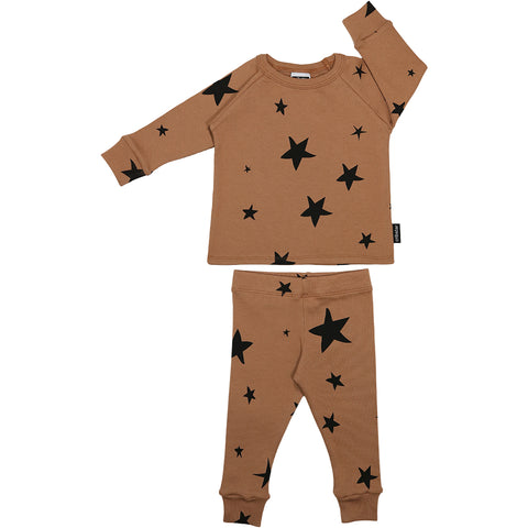 Ribbed Lounge Set -Caramel Stars