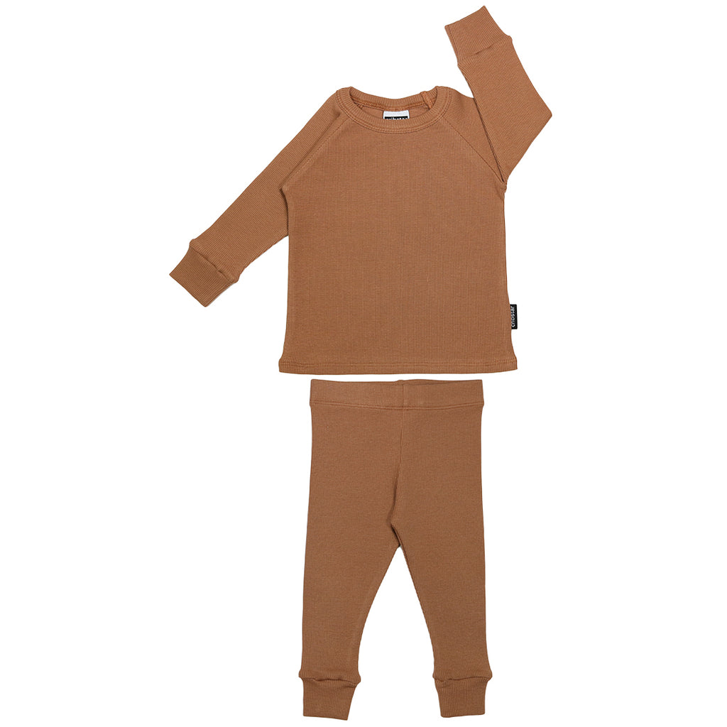 Ribbed Lounge Set - Caramel