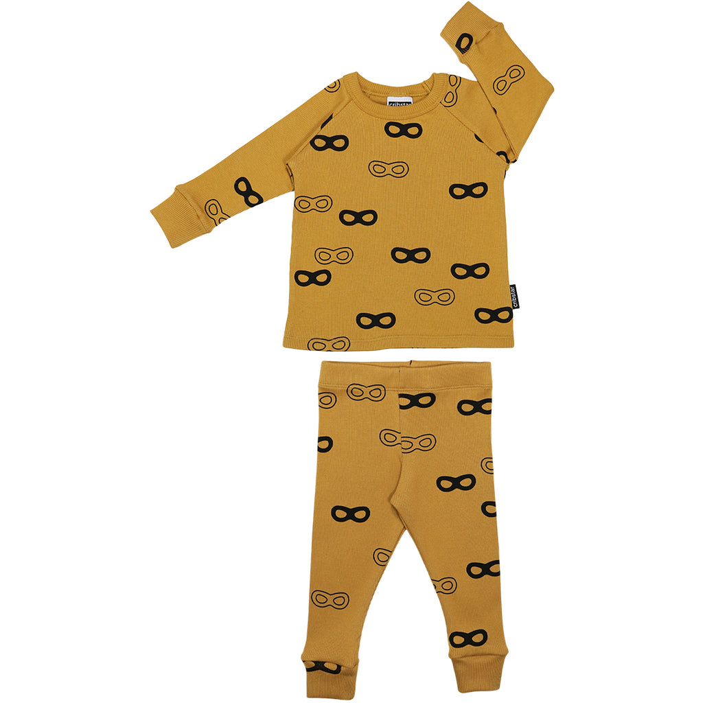 Ribbed Lounge Set -Mustard Super Hero Masks
