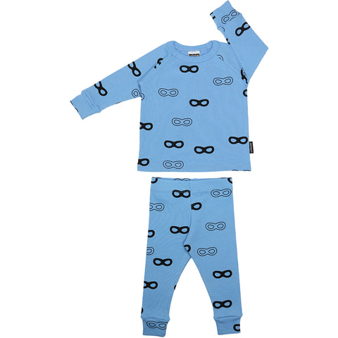 Ribbed Lounge Set - Sky Blue Super Hero Mask