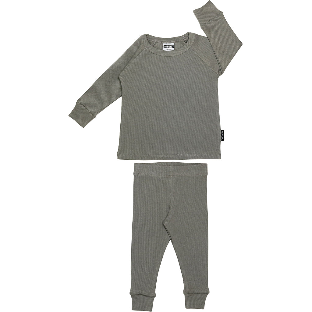 Ribbed Lounge Set - Stormy Grey