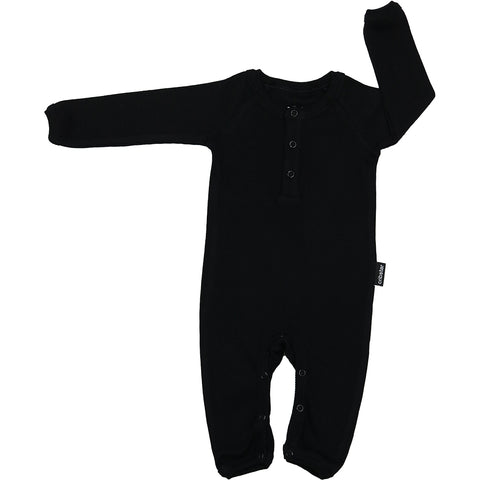 Ribbed Baby Romper - Black