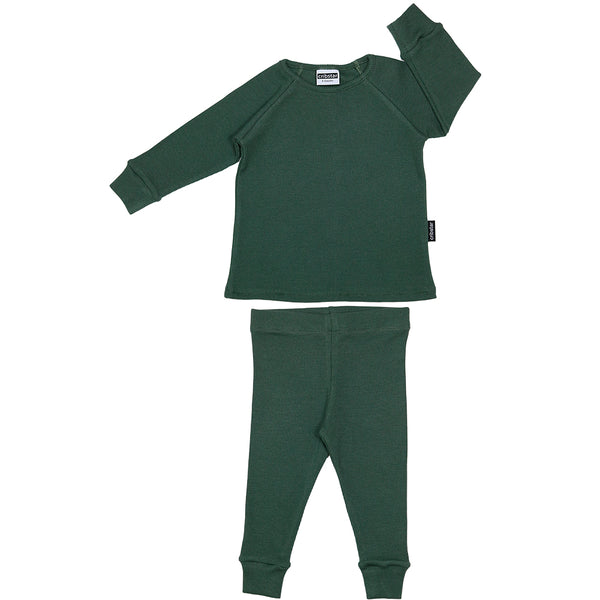 Ribbed Lounge Set - Bottle Green