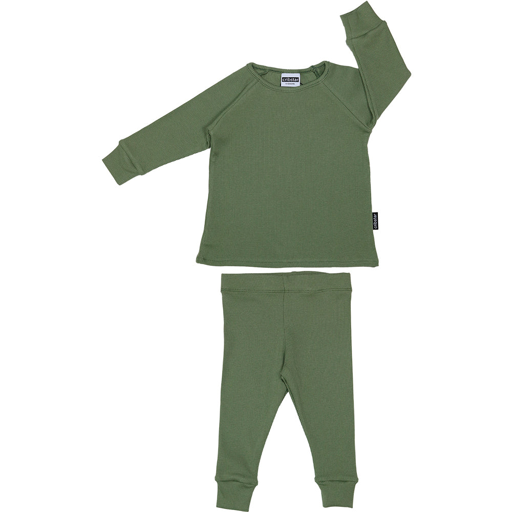 Ribbed Lounge Set - Khaki Green