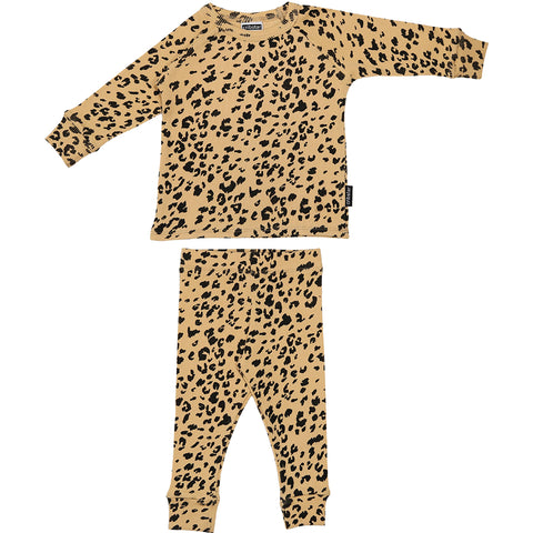 Ribbed Lounge Set - Warm Beige Simply Leopard