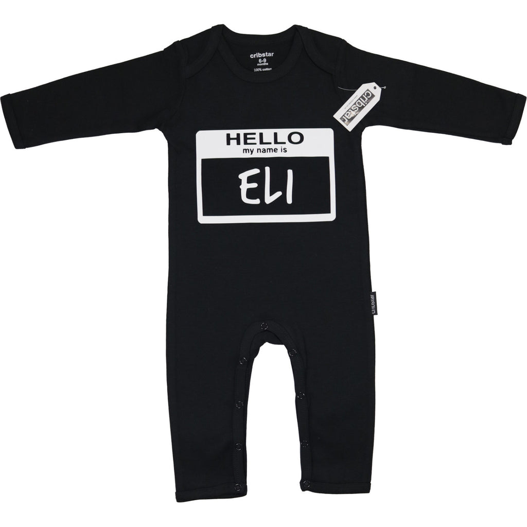 Hello My Name Is Personalised Romper SS16 Cribstar