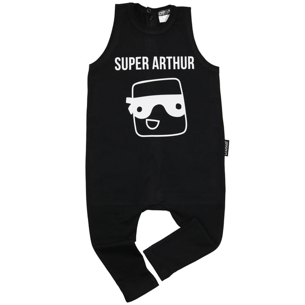 Personalised Super Hero Sleeveless Harem Romper