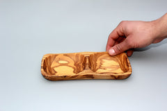 2-compartment Olive wood dish - Model 02