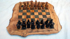 BIG SIZE Rustic Chess Set, Custom natural edge personalized chess board, Christmas Gift, Birthday gift, Dad gift, with 32 Chess pieces