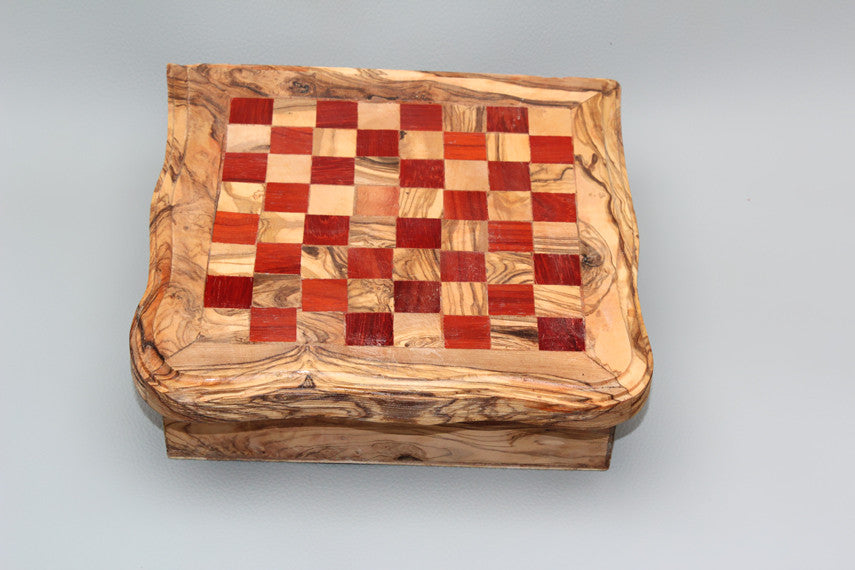 04 Games kit: Chess set, Dominoes, Checkers, Solitaire - Natural olive wood - Red Color
