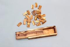 Dominoes games Hand Carved of natural olive wooden with wood box