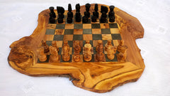 Extra Large Olive Wood Rustic Chess Board with 32 Chess pieces
