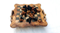 Handcarved Olive Wood Chess Set / Regular Wooden Chess Set - Black Square - Medium Size with 32 Chess pieces