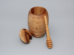 Honey Jar with Dipper, Handcrafted Olive Wood Honey Pot kit
