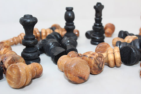 Olive wood hand carved chess pieces, Wooden natural black chess board pieces - MEDIUM SIZE