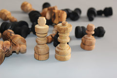 Olive wood hand carved chess pieces, Wooden natural black chess board pieces - LARGE SIZE