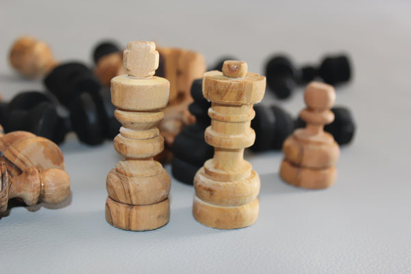 Olive Wood Hand Carved Chess Pieces Wooden Natural Black