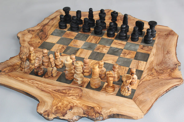Engraved Olive Wood Rustic Chess Set Custom Natural Edge
