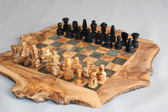 Engraved Olive Wood Rustic Chess Set, custom natural edge personalized chess board, Dad gift, Birthday gift - BIG SIZE