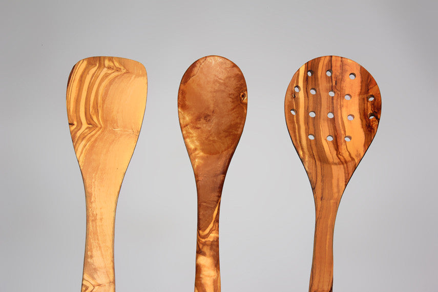 Olive Wood Utensils, 03 wooden Utensil Set, 1 Spatula, 1 Cooking Spoon, 1 Slotted Spoon