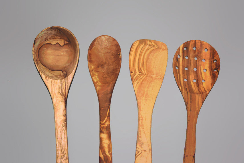 Olive Wood Utensils, 04 wooden Utensil Set: 1 Ladle, 1 Spatula, 1 Cooking Spoon, 1 Slotted Spoon