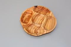 Olive wood plate with 5 holes