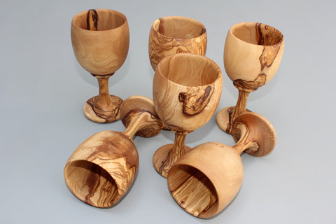 Set of 06 Olive Wood Cups